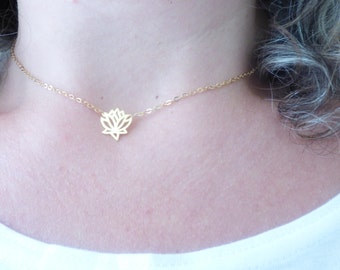 Delicate Lotus Flower Necklace, Thin Dainty Necklace, Tiny Gold Filled Choker Necklace, Simple Elegant Necklace, Everyday Modern Jewelry