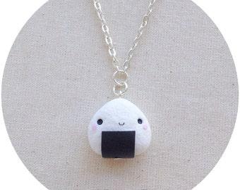 Necklace Onigiri ~ Cute Kawaii 御握り おにぎり Necklace Fimo Polymer Clay rice ball Japan