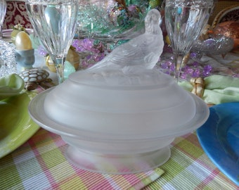 FROSTED GLASS COMPOTE with Peacock on Lid