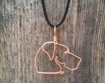 Great dane necklace, great dane jewelry, dog necklace, dog jewelry, wire dog, dog pendant, copper wire jewelry, wirework dog