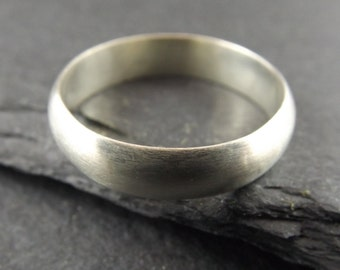 Sterling Silver Ring with a Satin Finish - Mens Wedding Band - Unique Ring - Mens Wedding Ring - Modern Wedding Band - Silver Jewellery