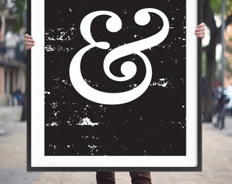 Art Digital Print Poster Ampersand Typography Printable Art – Monochrome Ampersand Sign, Black and White Art Home Decor *Digital Download*