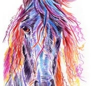 Horse Head Print - A Print from my horse head watercolour painting titled 'Untamed'