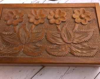 Vintage jewelry box, wooden jewelry box, handmade walnut wood box