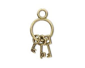 Steampunk Charm, key charm, antiqued brass key ring, 21x12mm, 2 each, D288