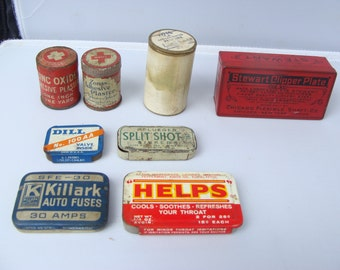 LOT OF 8 Vintage ECLECTIC Collection of Miniature Medical Tins, Grooming Tins, Automotive Tins, Fishing Tins