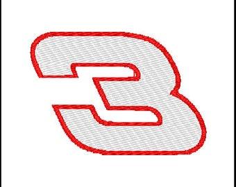 Dale Earnhardt 3 Embroidery Design
