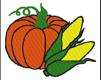Pumpkin Corn Fall Embroidery Design