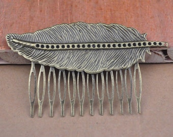Combs,Bronze Hair Combs,comb hair,antique Bronze filigree leaf hair combs 12teeth (64x38mm)