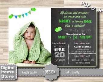 Printable Birthday Invitations Girl or Boy, Girl Birthday Invitation, Photo Invitation Girl, Boy Birthday Invites, Chalkboard Invitation All