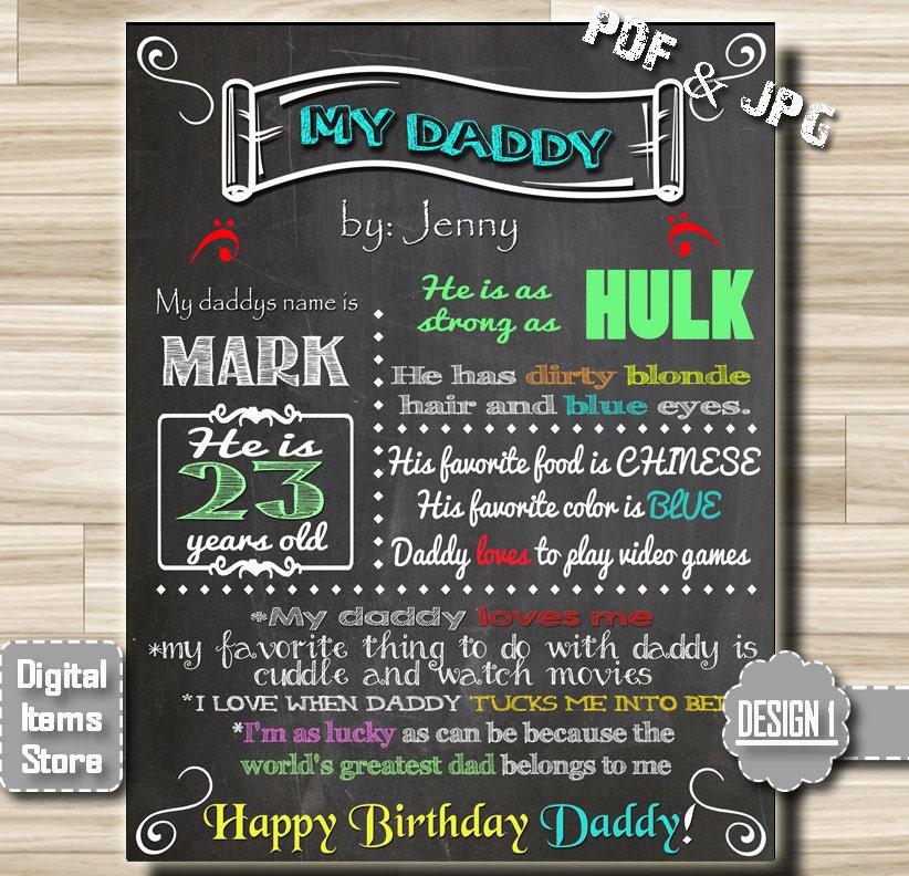 Chalkboard Poster Daddy Chalkboards Sign Happy Birthday