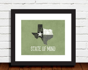 Texas State of Mind Various Colors Mustard Gray Blue Green Art Print Wall Art Decor Photo Print