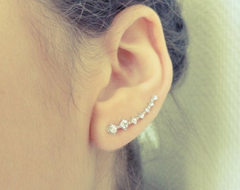 Jewelry for ears - ear cuff - cuff ear crystal - earrings silver - crystal - earcuff - silver - pinkish - minimalist