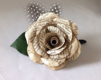 Book Page Boutonniere, Book Boutonniere, Book Page Wedding, Literary Wedding, Book Wedding, Book Paper Boutonniere, Book Page Bouquet
