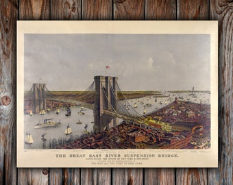 Vintage New York Brooklyn Bridge Canvas art, New York Canvas, Canvas Art, New York Wall art, Vintage, New York Poster, Brooklyn Bridge photo
