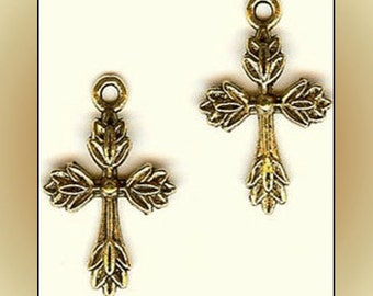 2 Cross Pendant Charms Antiqued Brass Finding