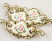 Brass and Enamel Drawer Pulls, Folk Art Decals, Chippendale Style, Set of 3