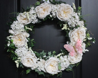 Wedding Wreath, Spring Wreath, Spring Wreaths for Front Door, Wreath for Wedding, Mother's Day, Housewarming, Wedding, Wreath with Roses