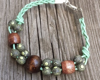 Beaded Leather Bracelet with Vintage Yellow and Brown Beads