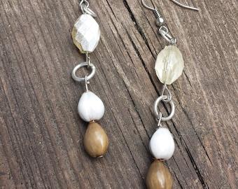 Brown and White Beaded Dangle Earrings