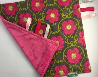 Pink and Grey Floral Lovey Blanket - Baby Sensory Taggy Blanket