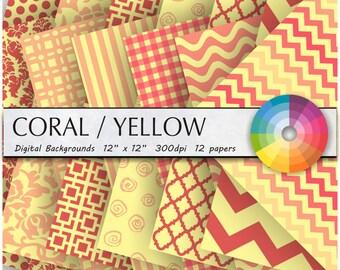 Yellow Coral digital paper Yellow digital paper coral background coral and Yellow coral Yellow digital paper coral Yellow background 12PK