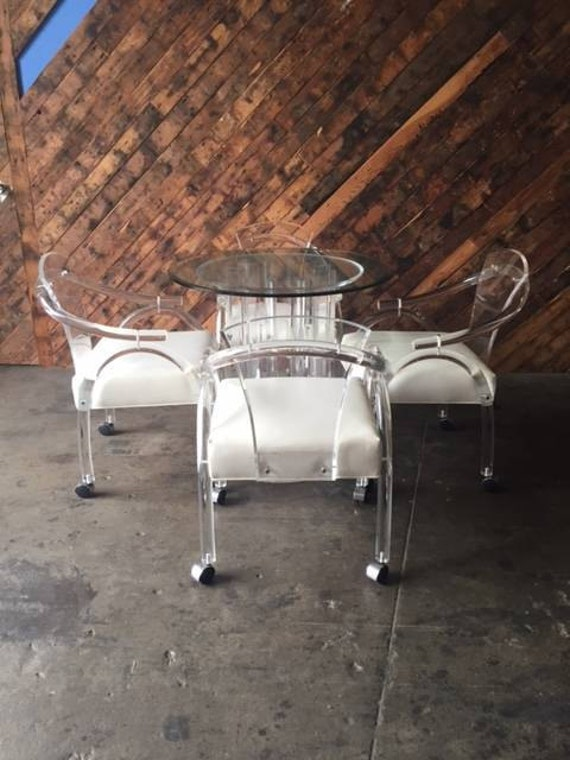 Lucite Dining Set with 4 chairs by Haziza