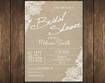 Burlap and Lace Rustic Bridal Shower Invitation - Custom Digital Copy
