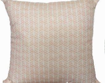 pink feathered herringbone cushion cover