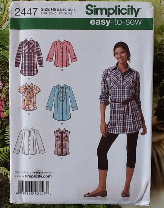 Simplicity 2447 Sewing pattern for ladies tops, shirts, blouses.  Easy to sew