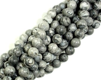 Gray Picture Jasper Beads, Round, 6mm (6.7 mm), 15.5 Inch, Full strand, Approx 60 beads, Hole 1 mm, A quality (141054001)