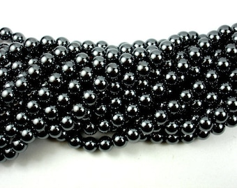 Hematite Beads, Round, 8mm (7.8 mm), 16 Inch, Full strand, Approx 55 beads, Hole 0.8 mm (269054001)