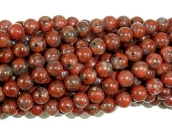 Red Sesame Jasper Beads, Round, 6mm, 15.5 Inch, Full strand, Approx 64 beads, Hole 1 mm (288054012)