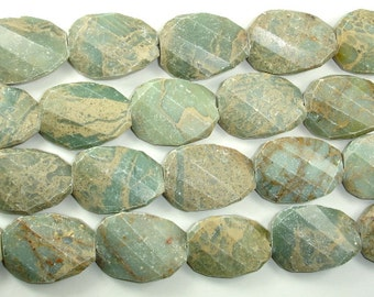 Aqua Terra Jasper Beads, Twisted Faceted Irregular Pear, 22 x 30 mm, 16.5 Inch, Full strand, 14 beads, Hole 1.2 mm (281077001)