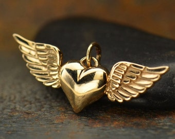 Bronze Heart with Wings Charm