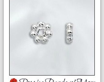 Sterling Silver - 5mm Daisy Spacers - Shiny Silver