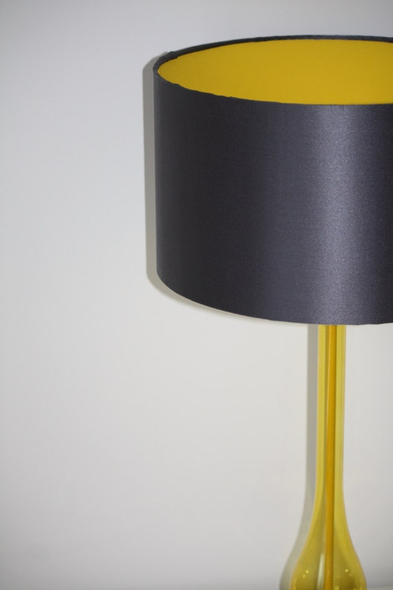 Charcoal Grey Silk Satin Drum Lampshade With Yellow Fabric