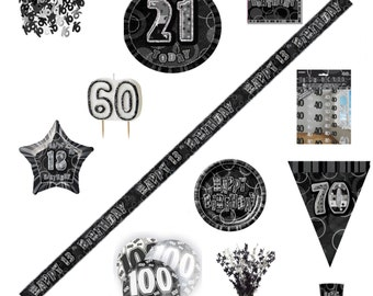 BLING Party Decorations and Birthday Tableware in BLACK & SILVER Glitz