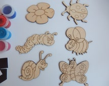 Insects Wooden Craft Shapes-Wooden Toys for Kids Coloring-Craft Supply-Kids Craft-Fridge Magnets-Handmade Souvenir-010