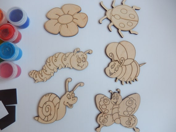 Insects wooden craft shapes wooden toys for kids for Wood crafts for kids