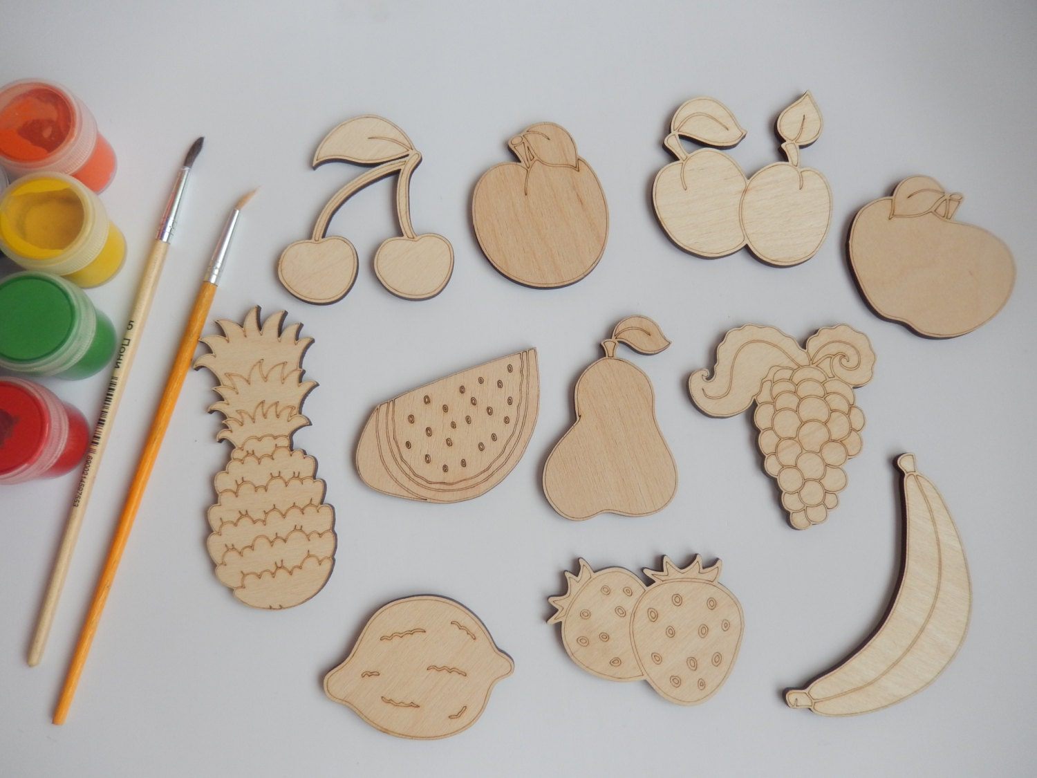 11 fruit wood craft shapes for coloring craft supplies for Craft supplies wooden shapes