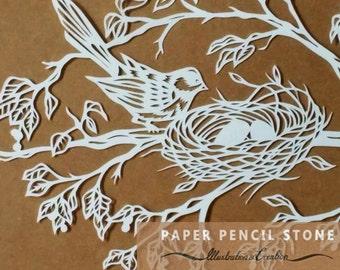 Mother Bird Papercut Template. Nurture. First in Set of Three
