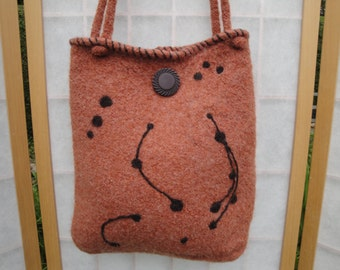 tan knitted felt bag, autumn felt handbag, felted tan handbag, art deco design bag, tan and brown felt purse, OOAK knitted felt bag, handbag
