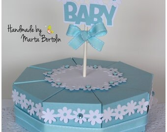Baby Shower Centerpiece, Paper Cake Favor Boxes , Baby Shower Boy