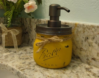 Ball Pint Elite Mason Jar, 17 Add'l Colors, Soap Lotion Dispenser,  Kitchen, Bathroom, Bronze Pump, Nickel Pump, Cottage, Country, Gift