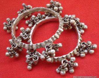 vintage antique old silver bangle bracelet set tribal belly dance