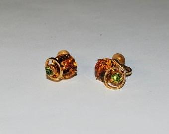 Topaz and Green Rhinestone Earrings