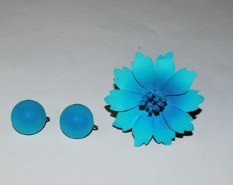 Retro Flower Pin with Matching Earrings