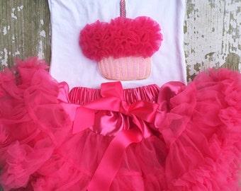 Hot pink birthday cupcake outfit! Cup cake chiffon pettiskirt, kids, petti skirt, toddler baby, girls skirt, toddler, baby, fluffy, outfit,