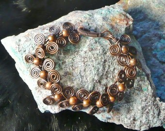 UNIQUE HANDCRAFTED BRACELET, Copper Bracelet, Swirl Links Bracelet, 6mm Copper Beads, Wire Wrapped Bracelet, Bracelet  Great Gift, #119B